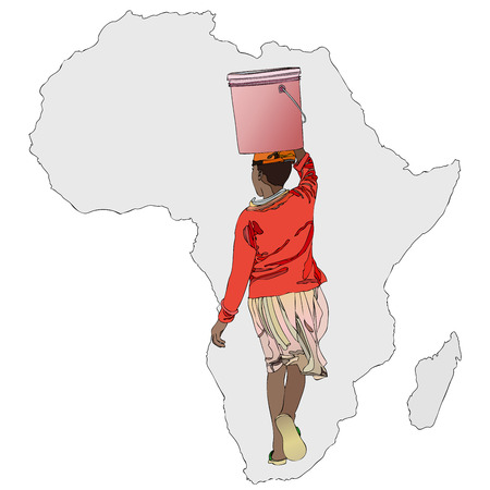 necessity: Symbolic illustration of an African woman carrying a bucket of water to the African way