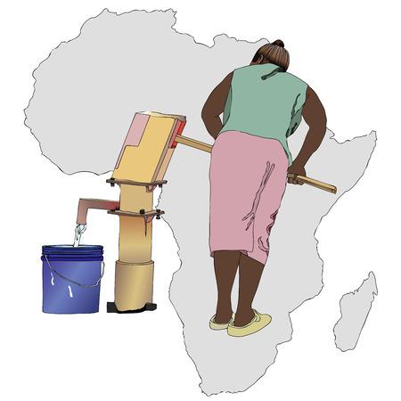 bomba de agua: Ilustración simbólica de una mujer africana que bombear un cubo de agua de la fuente del país