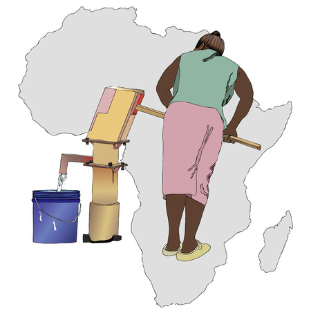 girl drinking water: Symbolic illustration of an African woman that pumping a bucket of water from the fountain of the country