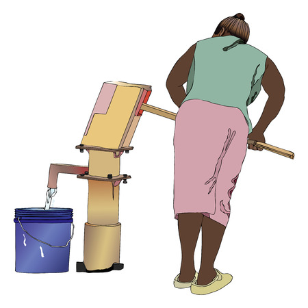 necessity: Symbolic illustration of an African woman that pumping a bucket of water from the fountain of the country