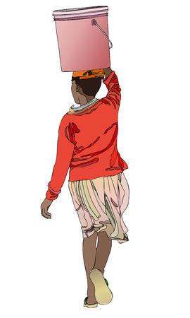 アフリカの方法への水のバケツを運ぶのアフリカの女性の象徴的な図  イラスト・ベクター素材