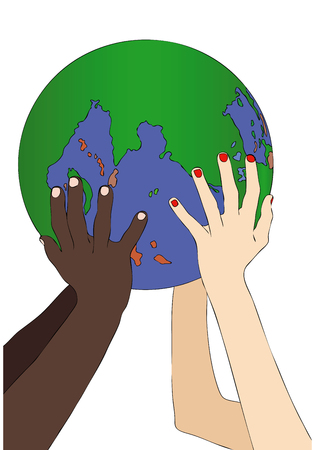 symbolically: Illustration representing two arms that hold symbolically the world