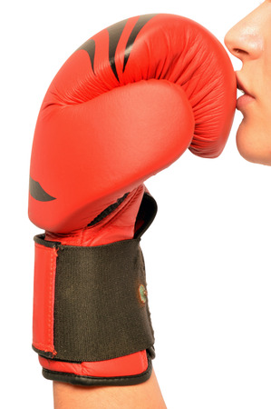 symbolically: A girl shows symbolically all his passion for boxing
