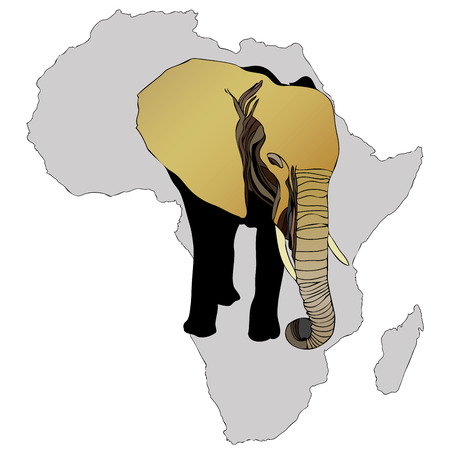 naturalist: Symbolic illustration depicting an African elephant Illustration