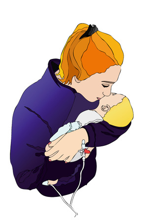 pampers: Mom with baby - Illustration representing a mother who pampers her sick child