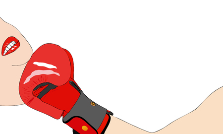 hits: Illustration representing a boxing match where a boxer hits with a deadly uppercut