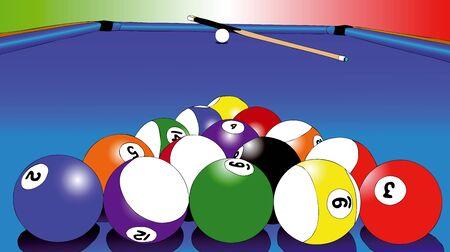 green carpet: Illustration representing the game of billiards Illustration
