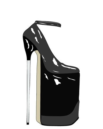 Illustration ironic that enhances the artistic value of a shoe really out of the ordinary