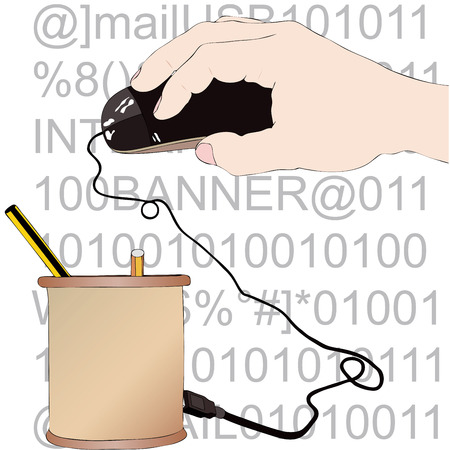 modernity: Illustration representing the evolution of writing ink to computer Illustration