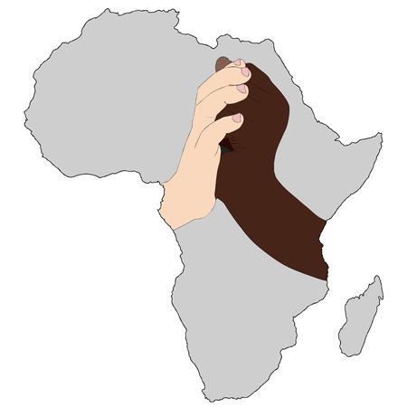 ni�os de diferentes razas: La solidaridad es nuestro futuro - Ilustraci�n que representa las manos de dos ni�os de diferentes razas