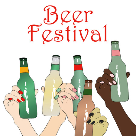 beer festival: Beer Festival - Illustration depicting a group of girls from different ethnic groups, that drinking beer