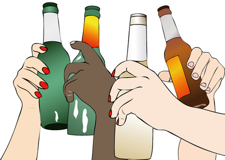 toasting: The Beer in Fest - Illustration depicting a group of people that toasting with beer bottles