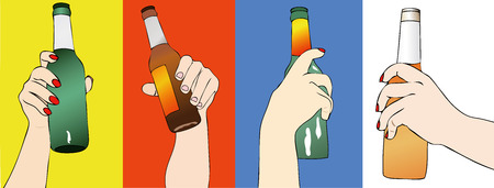 beers: Fantasy of Beers - Illustration depicting the hand of a woman clutching a bottle of beer Illustration