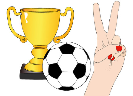 supporter: We have won - Illustration depicting the joy of a supporter for the cup won in a football tournament Illustration