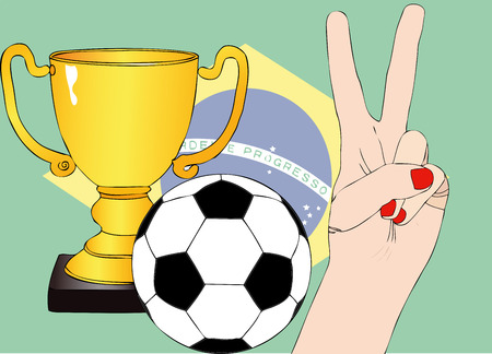 nações: He won the Brazil - Illustration depicting the joy of a supporter for the cup won in a football tournament for nations Ilustração