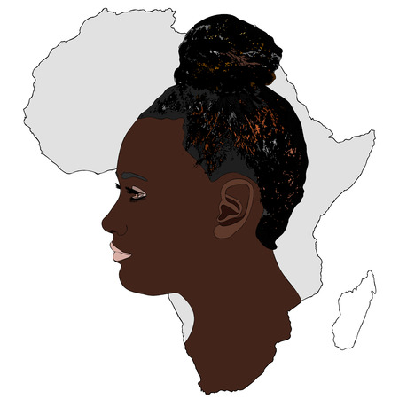african woman: The Africa and its women - Symbolic illustration depicting a typical African woman