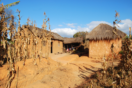 Rural house in Pomerini in Tanzania - Africa - Typical house peasant of the rural area of Pomerini in Tanzania Stock Photo