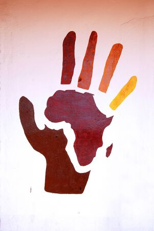 fraternity: African murals - A symbolic murals representing Africa and its people Stock Photo