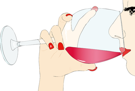 glass with red wine: Tasting red wine - Illustration representing a woman who taste a glass of red wine Illustration