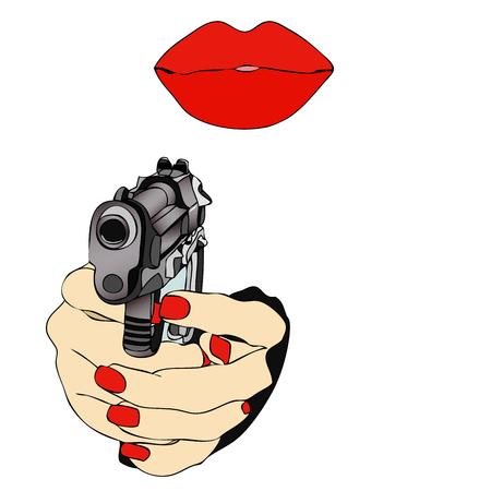 misunderstanding: A dangerous love - Illustration symbolic representative hands of a woman clutching a gun