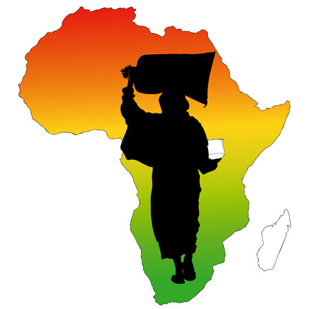 african solidarity: Food and Peace for Africa - Symbolic illustration depicting a woman with a bag of flour in the head Illustration