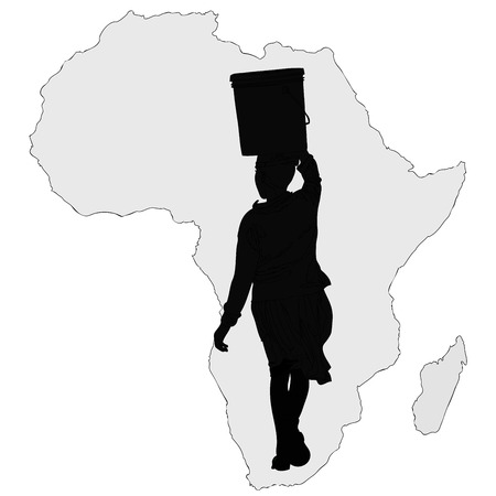 african solidarity: Water is life - Symbolic illustration of an African woman carrying a bucket of water to the African way