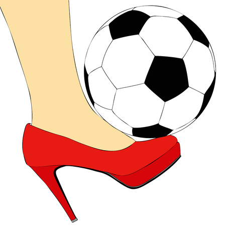 cleats: A dribble sensual - Symbolic illustration depicting a woman torn between sport and elegance