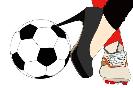 cleats: A sporty and elegant woman - Symbolic illustration depicting a woman torn between sport and elegance