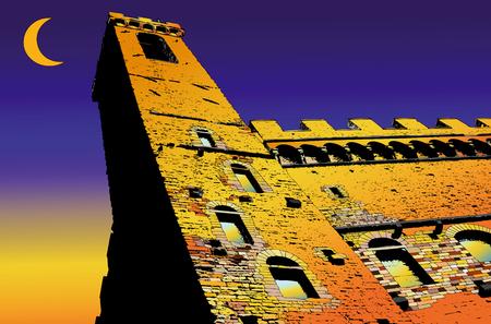 florence italy: Palazzo Vecchio a Firenze - Italia - rappresentante Illustrazione Palazzo Vecchio a Firenze con il tramonto sullo sfondo e una falce di luna