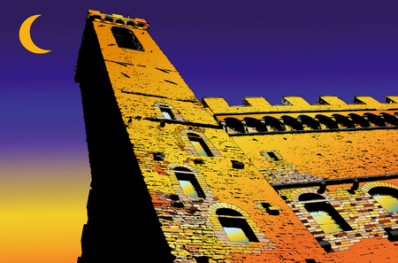 florence   italy: Palazzo Vecchio in Florence - Italy - Illustration representative Palazzo Vecchio in Florence with the sunset in the background and a crescent moon