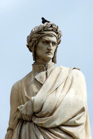 dante alighieri: Detail of the statue of Dante Alighieri in Piazza Santa Croce in Florence Stock Photo