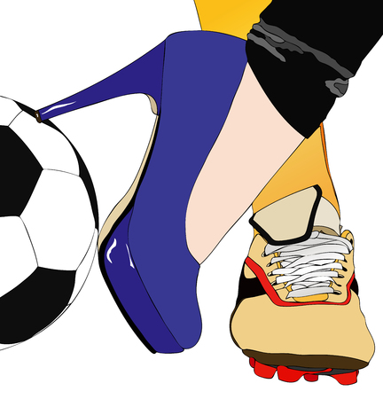 sporty: Between football and fashion - Symbolic illustration depicting a woman torn between sport and elegance