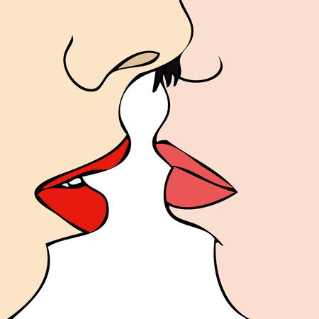 Desire between two women - Symbolic illustration representing the desire between two women Vettoriali