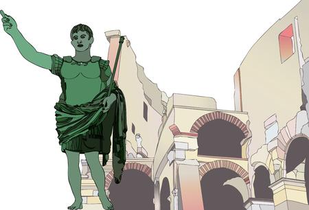 Estatua del emperador Cayo Julio César hasta el Coliseo Romano - Ilustración que muestra una estatua del emperador Cayo Julio César en el contexto del Coliseo de Roma