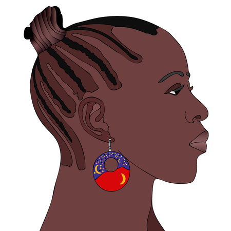 earring: African Woman with earring - Symbolic illustration depicting a typical African woman
