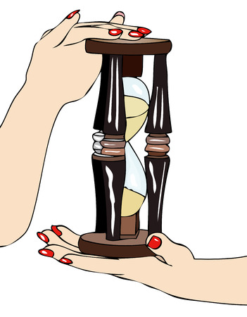 symbolic: The passage of time - Symbolic image of an hourglass in the hands of a woman with the inexorable passage of time Illustration