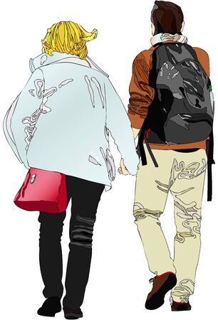 boyfriends: An engaged couple - Illustration depicting a pair of boyfriends walking