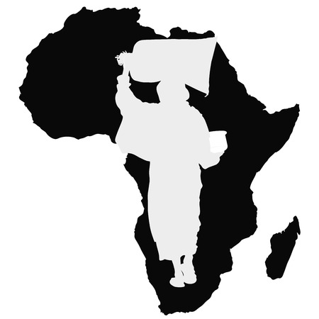 inequality: Food for Africa - Symbolic illustration depicting a woman with a bag of flour in the head