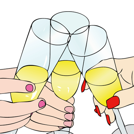 toasting wine: A Toast to celebrate - Illustration representative of the people who drink a toast to celebrate en event Illustration