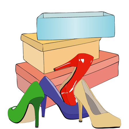 shoe store: In a shoe store - Illustration representing the exposure of shoes in a store Illustration