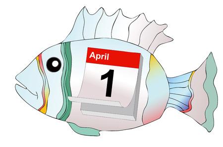 April Fool - April 1, humorous illustration representing the day of pranks and false news