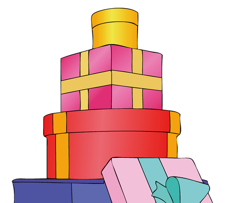 parcels: Parcels, Gifts and Presents - Illustration depicting a set of gifts received or do