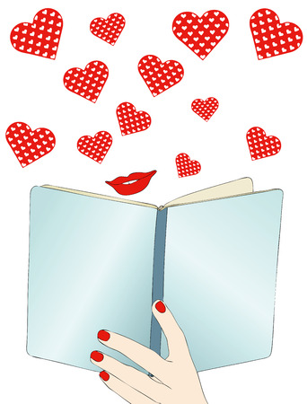 novel: A beautiful love story - Symbolic illustration depicting a woman reading a romance novel