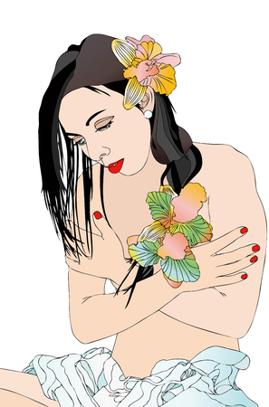 Beautiful girl and body care - Symbolic illustration of a beautiful girl who takes care of his body photo