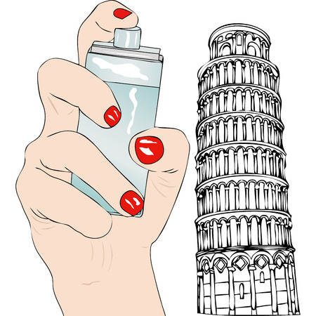 bodycare: Perfume of Pisa - Symbolic illustration depicting the hand of a woman with a perfume and in the background the Tower of Pisa