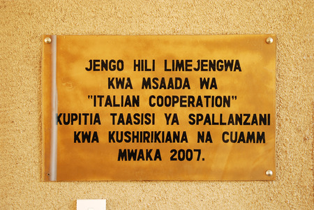 hiv virus: August 29, 2104, Hospital Ipamba of Iringa-Tanzania-Africa - The plaque commemorating the cooperation between the Spallanzani Hospital in Rome, the Association CUAMM and the Ipamba hospital, to combat the turbecolosi, HIV virus and malaria, the three dise