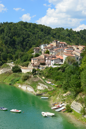 small country town: The country of Fiumata on Lake Salto in Abruzzo - A view of the small town of Fiumata leaning on Lake Salto