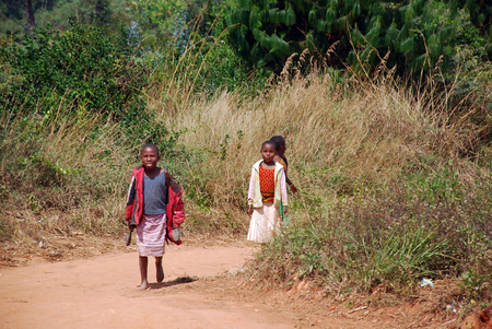 ngo: August 8, 2014, Kilolo, Tanzania, Africa - Of unidentified African children in the verdant mountains of Kilolo chasing the car of Mawaki NGO that every week brings medicines, food and clothing