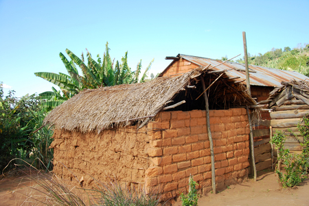penury: The houses of the village of Nguruwe in Tanzania, Africa - The poor dwellings of the village on the mountain Nguruwe Kilolo in Tanzania
