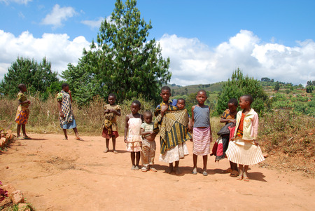 dispensary: August 8, 2014 - The children of Kilolo mountain in Tanzania - Kilolo - Africa - A group of unidentified children run at  the arrival of the volunteers at the dispensary of Kilolo run by NGOs Mawaki, where they will find food and medical care